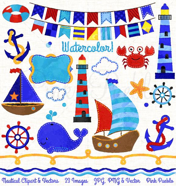 Watercolor Nautical Clipart Vector