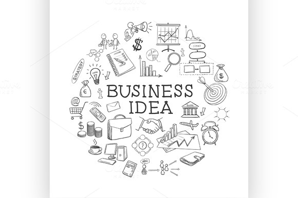 Hand Draw Doodle Web Charts Business