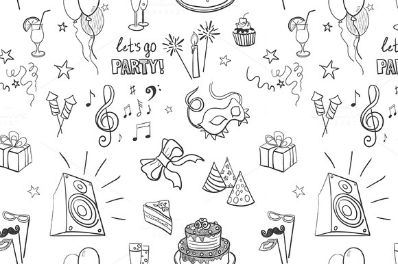 Hand-drawn Party Icon Pattern