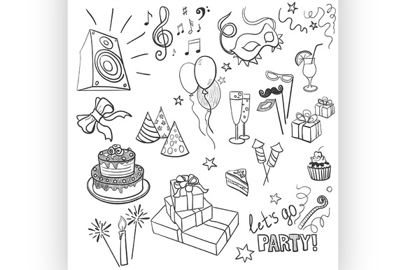 Set Of Sketch Party Objects Doodle