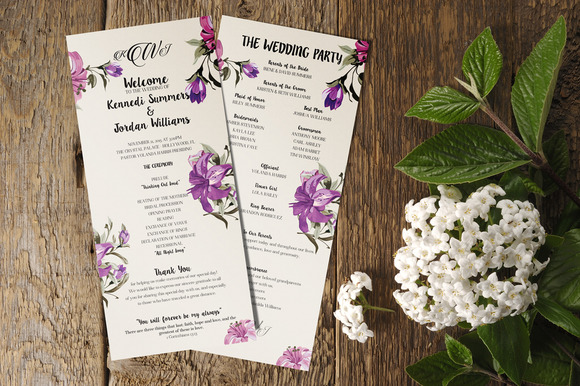 Floral Wedding Program 5-Pack