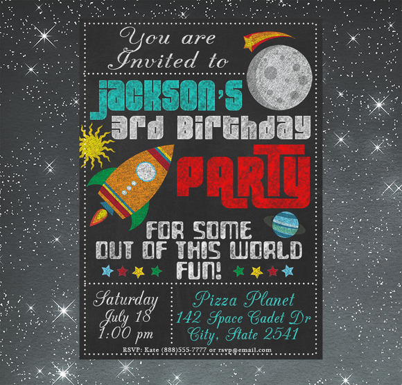 Chalkboard Space Birthday Invitation