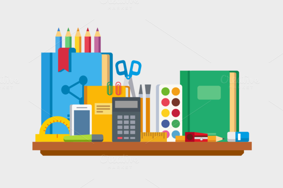 School Education Items On Table