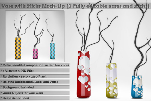 Vase With Sticks Mockup Kit