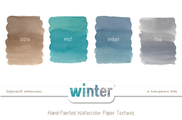 Winter Colors Watercolor Textures