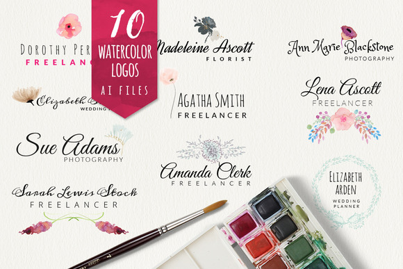 10 Watercolor Logos