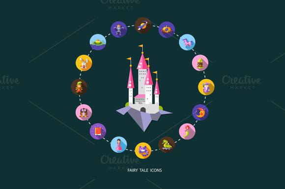 Fairy Tales And Magic Icons Set