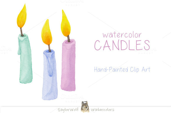 Watercolor Birthday Candles Clipart