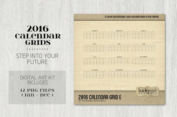 2016 Calendar Grid E