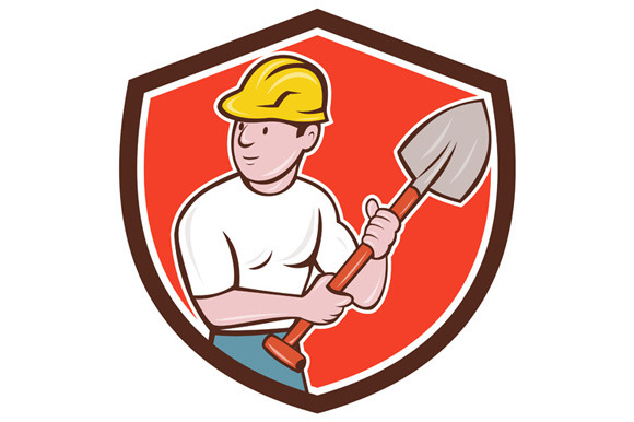 Builder Construction Worker Spade Sh
