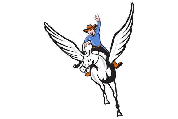 Cowboy Riding Pegasus Flying Horse C