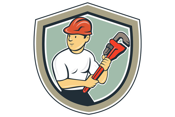 Plumber Holding Monkey Wrench Shield