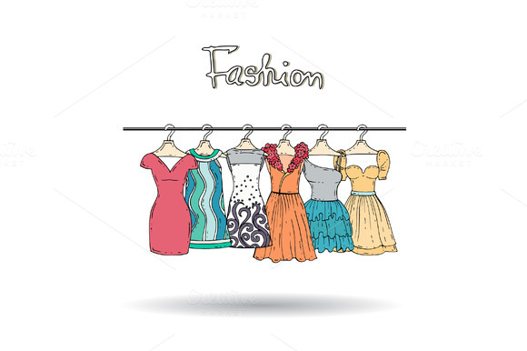 Illustration With Hand Drawn Dresses