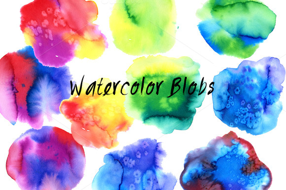 36 Colorful Watercolor Blobs