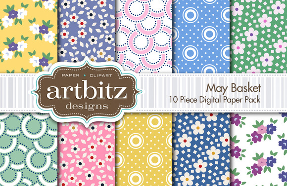 May Basket 10 Piece Digital Paper