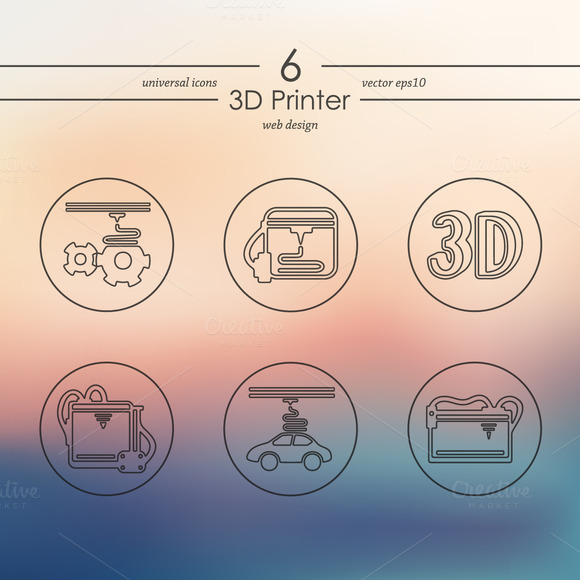 Set Of 3D Printer Icons