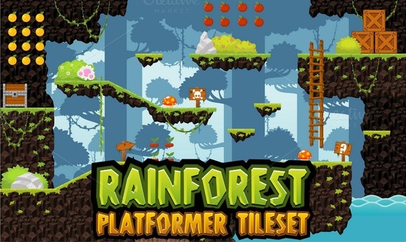 Rainforest Platformer Tileset