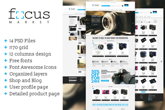 Focus Market One Page PSD Template