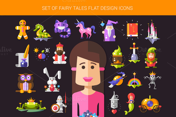 Fairy Tales Flat Design Icons Set
