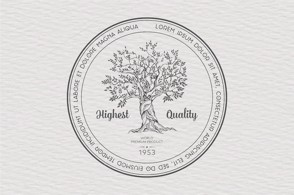 Vintage Label With Tree Vector
