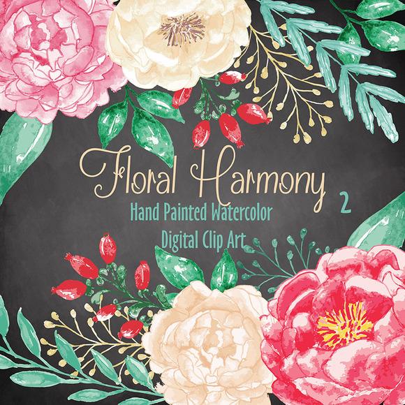 Vector Watercolor Floral Harmony 2