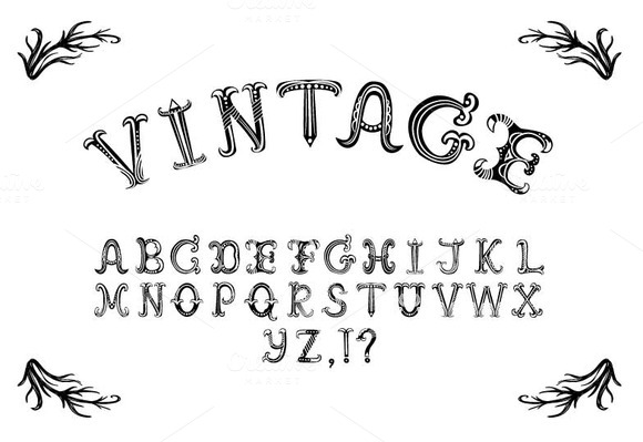 Hand Drawn Vintage Vector Alphabet