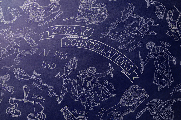 Zodiac Constellations Set Pattern