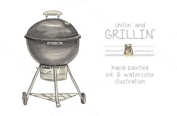 Ink And Watercolor Grill Clip Art