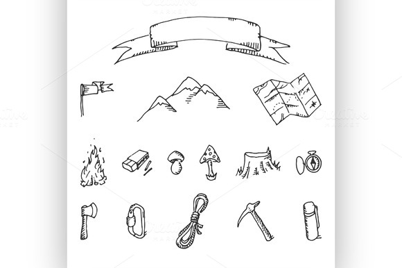 Camping Adventure Set Vector Doodle