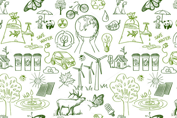 Ecology Signs Seamless Pattern