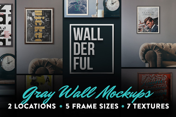 Wallderful Gray Wall Mockups