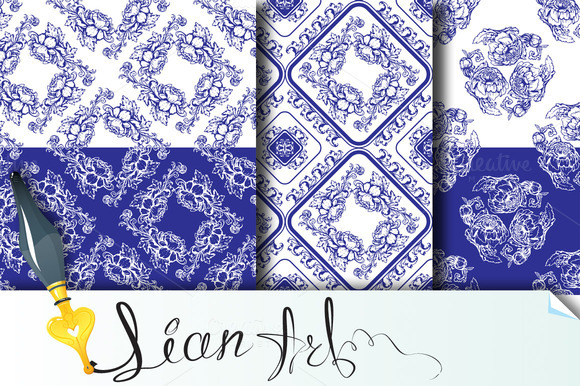 3 Seamless Blue Floral Patterns