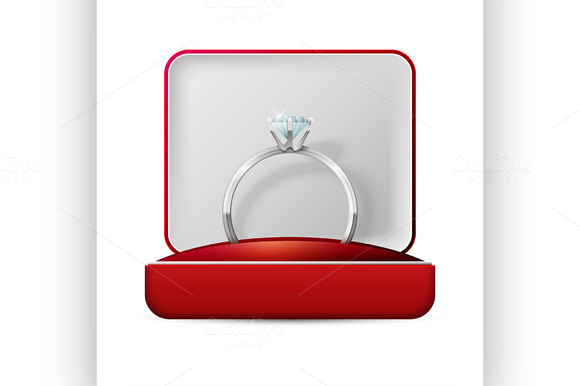 Wedding Rings In A Gift Box On White