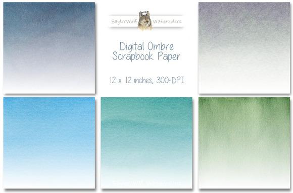 Cool Colors Digital Ombre Paper