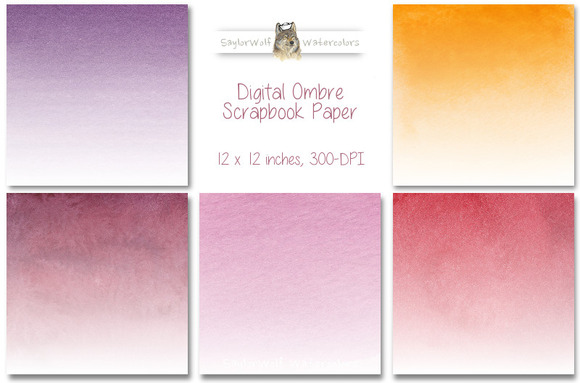 Warm Colors Digital Ombre Paper