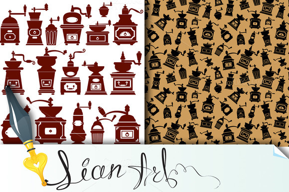 Vintage Coffee Mills Silhouettes