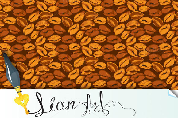 Seamless Pattern With Coffee Beans