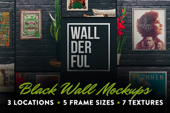 Wallderful Black Wall Mockups