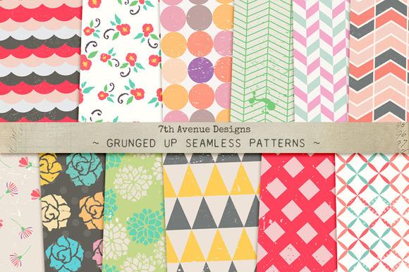 Grunged Up Seamless Patterns