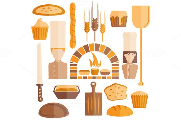 Flat Design Icons Of Bakery Theme