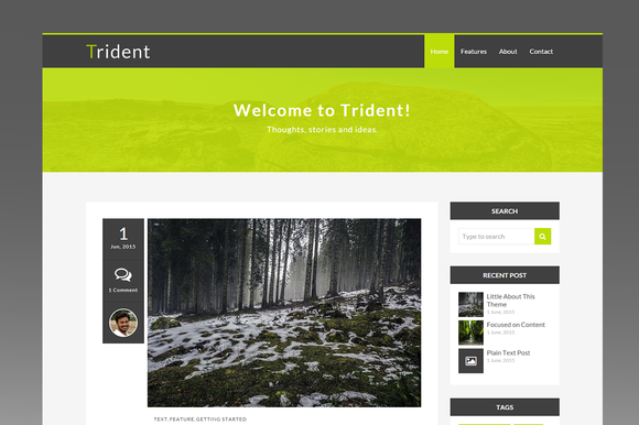 Trident Minimal Ghost Blog Theme