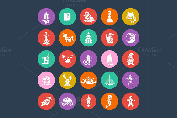 Fairy Tales Flat Design Pictograms