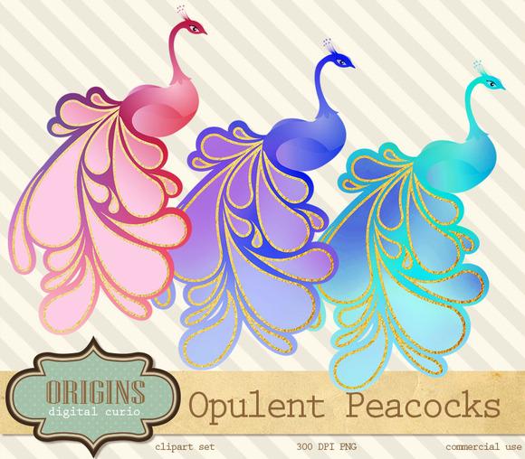 Opulent Peacocks Clipart