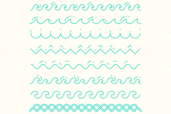 Set Of Trendy Linear Style Waves