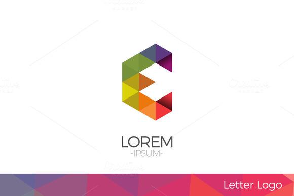 Letter E Vector Origami Logo Icon