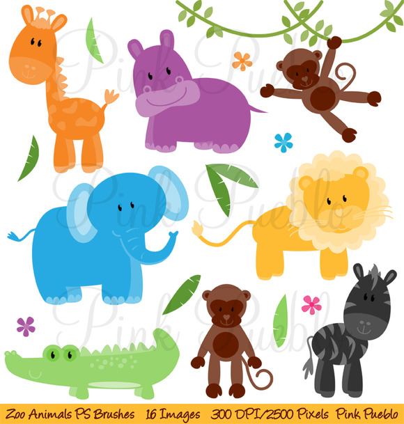 Zoo Animals Photoshop Brushes