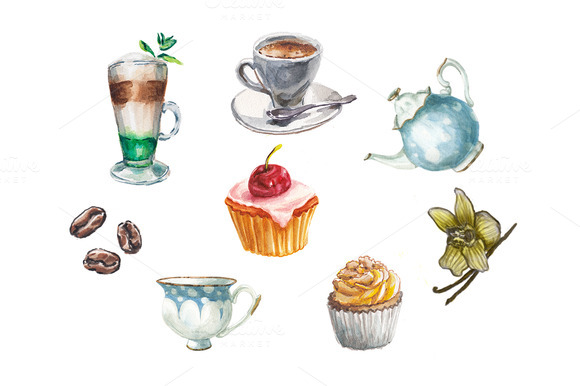 Watercolor Desserts Coffee And Tea