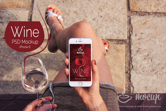 IPhone 6 PSD Mockup Wine A