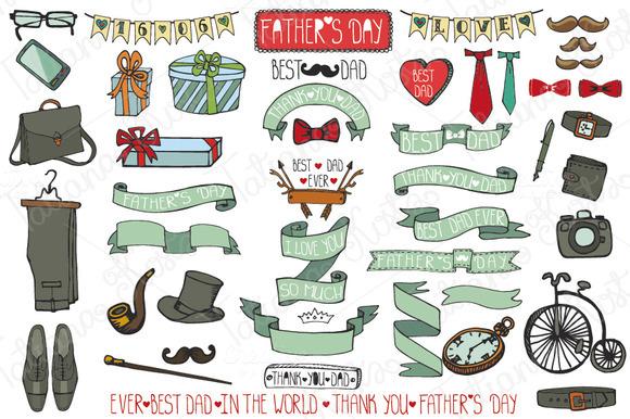 Fathers Day Doodle Vintage Set