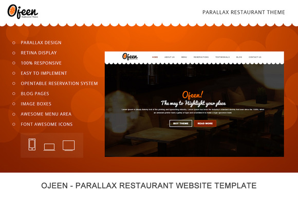 Ojeen Restaurant HTML Website Temp